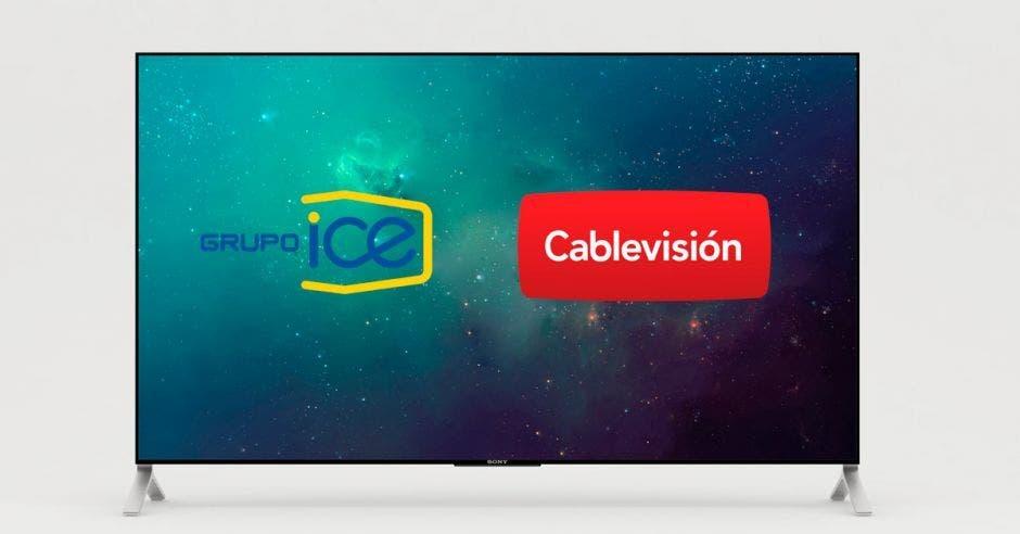 Un televisor con los logos del ICE y Cable Visión