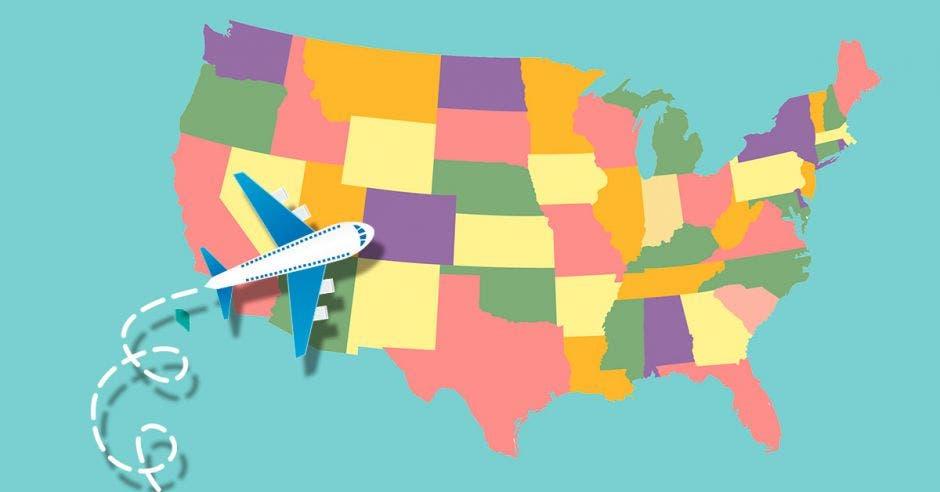 Un avión dirigiéndose hacia Estados Unidos