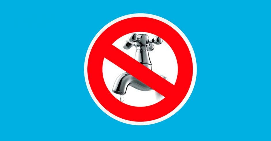 Una ilustración de un grifo con una señal de prohibido