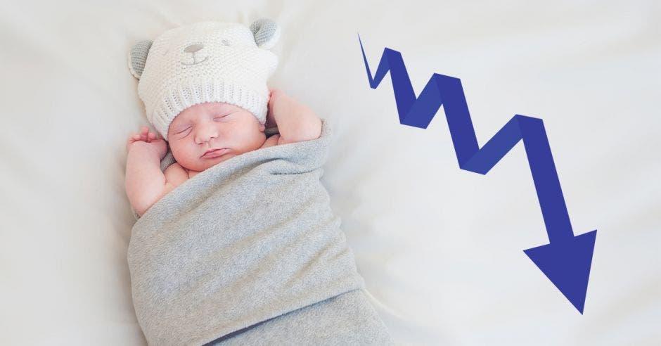 Un bebé recién nacido y, a su lado, una azul que va hacia abajo, mostrando una disminución gradual.