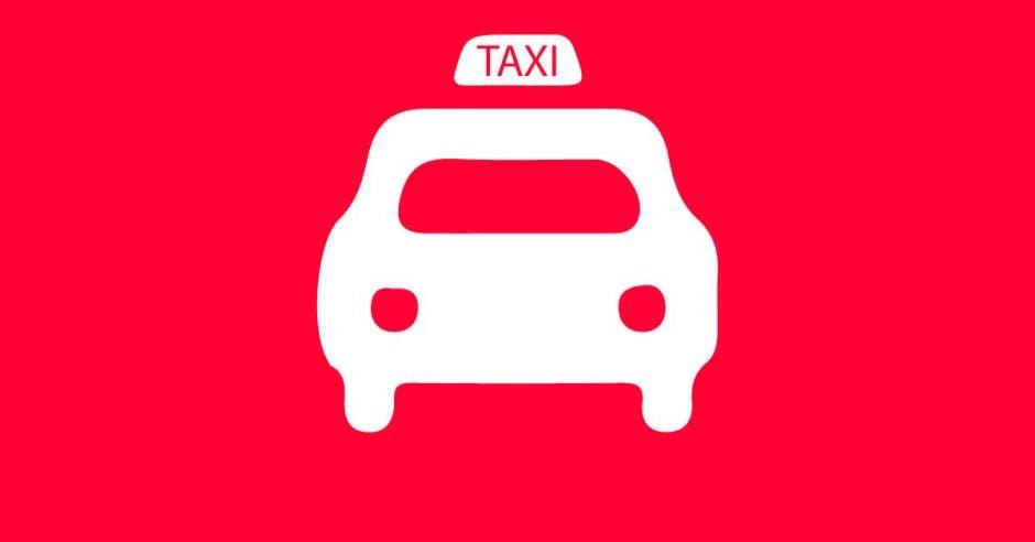 Un taxi sobre un fondo rojo