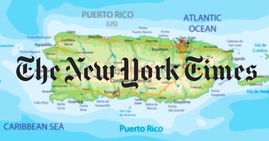 mapa de fondo y logo del New York Times
