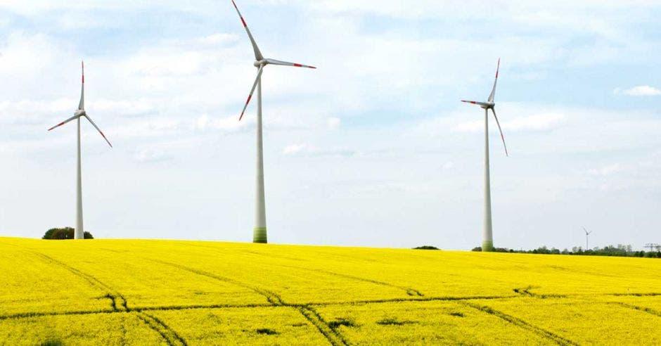 Unos molinos de viento metálicos