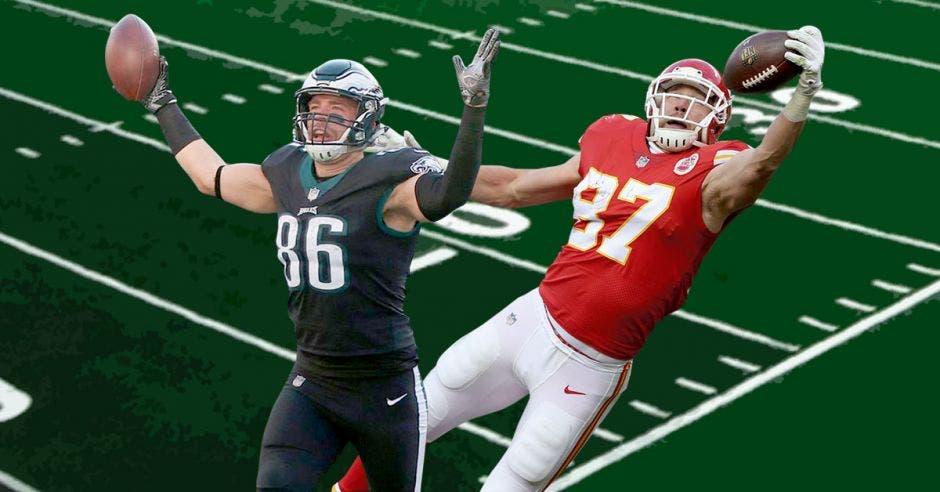 """Zack Ertz y Travis Kelce fueron de los """"tight end"""" más consolidados de la Nacional y Americana, respectivamente. NFL/La República"""