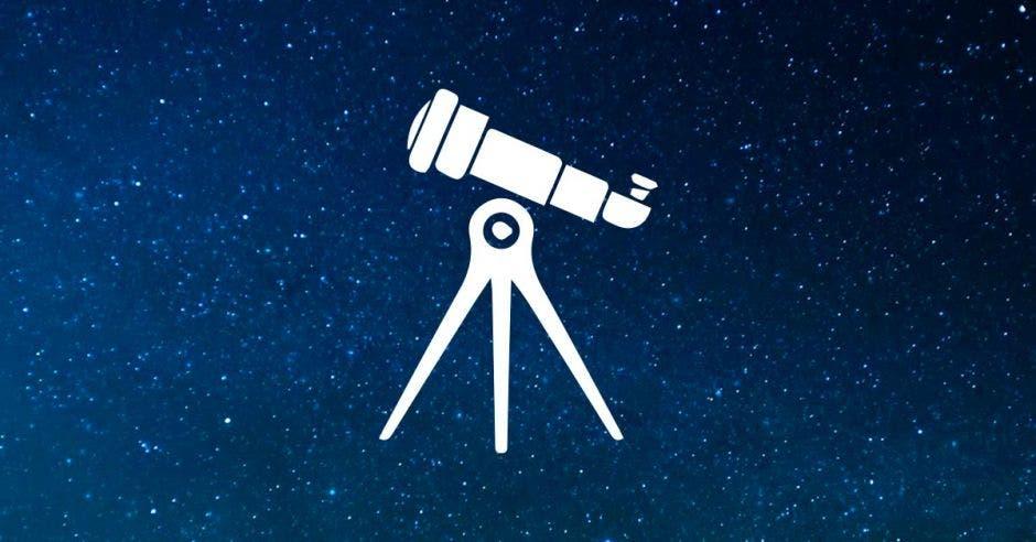 Un telescopio sobre un fondo de estrellas