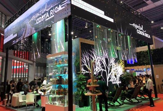 El pabellón de Costa Rica en la Exposición Internacional de Importación de China.