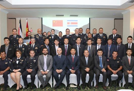 Reunión entre funcionarios de la Embajada de la República Popular China y la Fuerza Pública de Costa Rica.