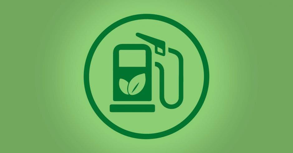Un tanque de gasolina verde