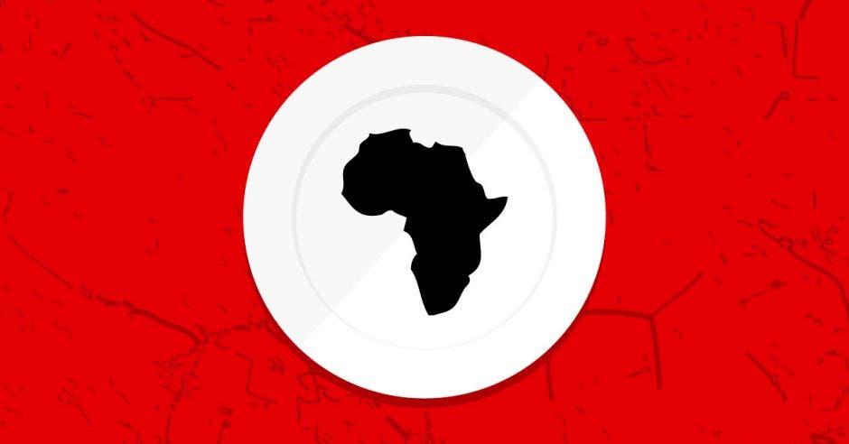 Un plato de comida con el continente África adentro
