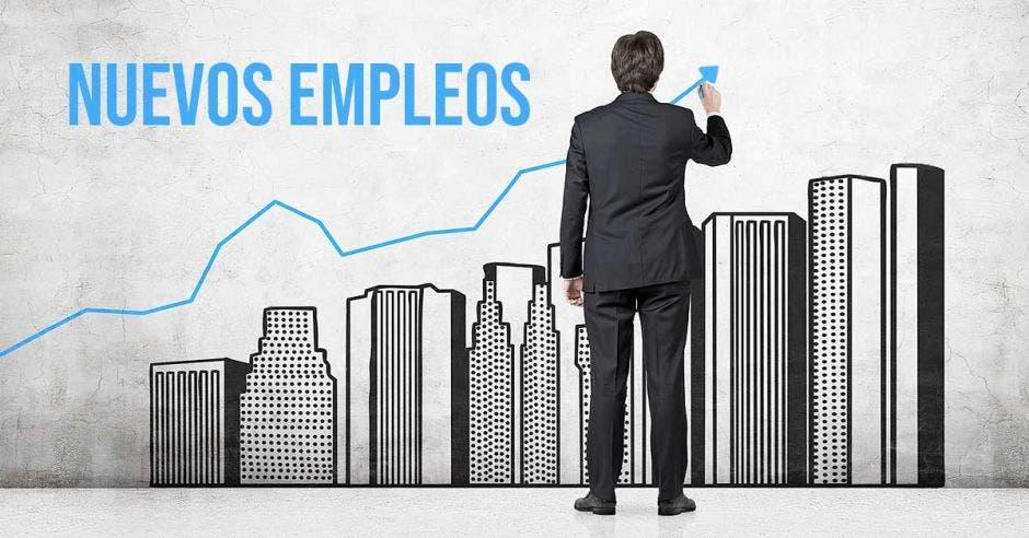 Un ejecutivo apuntando con una flecha hacia la palabra empleo