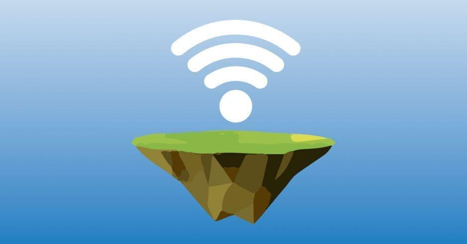 Un signo de wifi sobre una isla