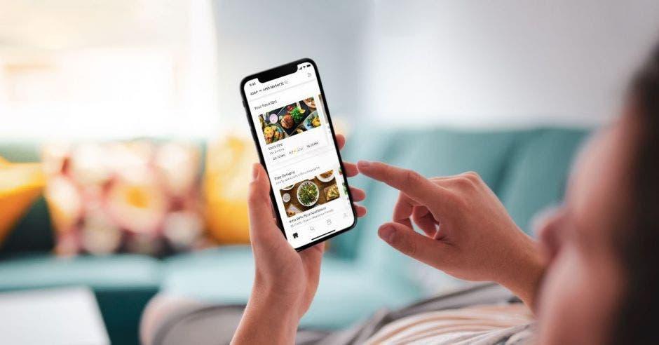 Aplicación de Uber Eats abierta