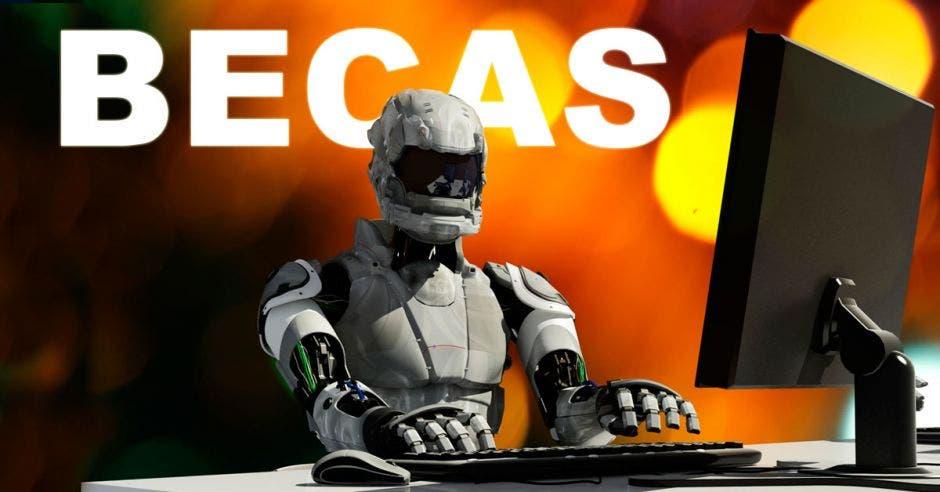 Un robot usando una computadora