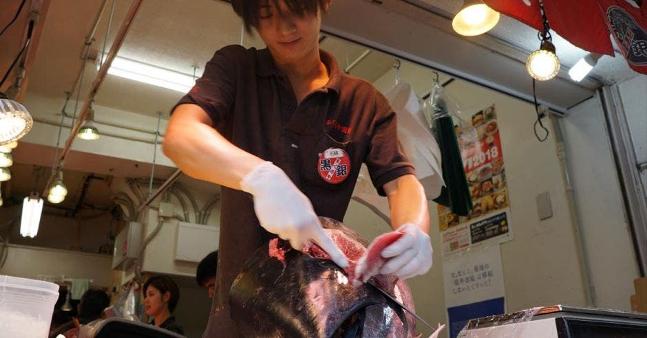 Un japonés corta un atún