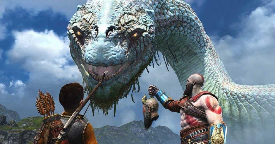 Un dios mitológico muestra un sacrificio a un dragón