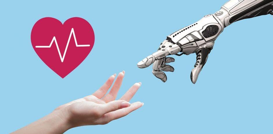 Mano humana y de un robot