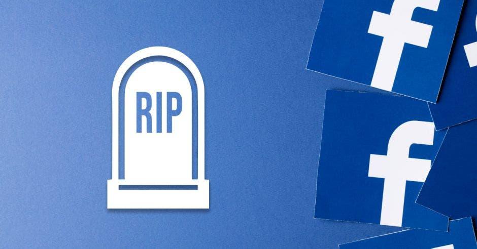 Una tumba con el logo de Facebook