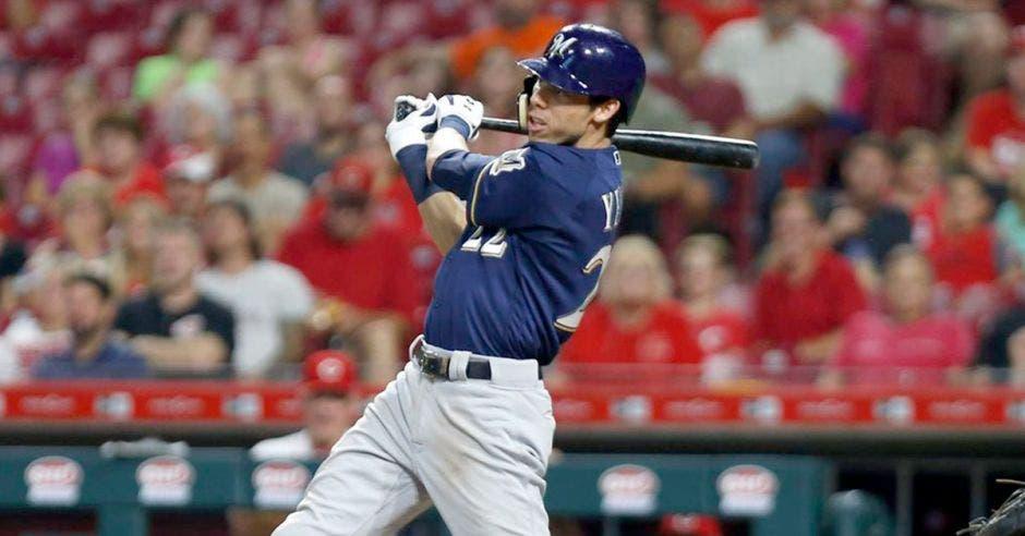 Christian Yelich de los Cerveceros de Milwaukee es el máximo vuelacercas de las Grandes Ligas. MLB/La República