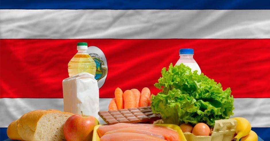 Varios productos de canasta básica frente a una bandera de Costa Rica