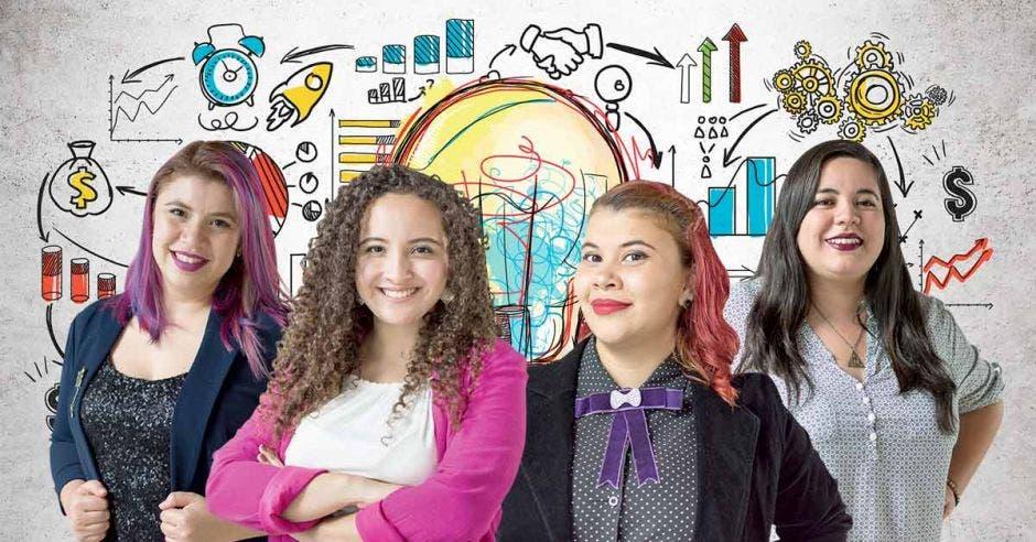 Hazel Rodríguez, Evadne Salas Jendry Rodríguez y Rita Robles, con La Red Violeta, ganaron el tercer lugar en la categoría emprendimiento social en la competencia de negocios Yo Emprendedor 2018. Cortesía/La República