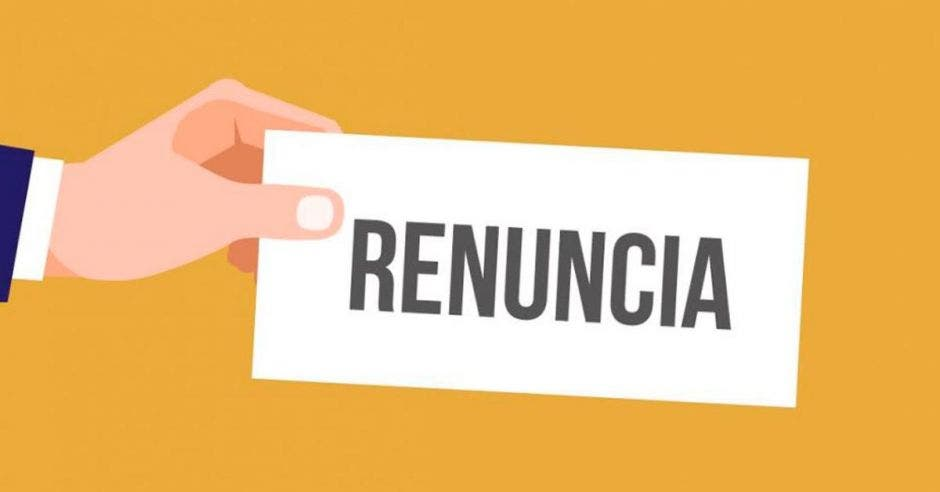 Una imagen que muestra la palabra renuncia