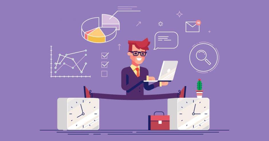 una imagen de un hombre haciendo malabares con una computadora