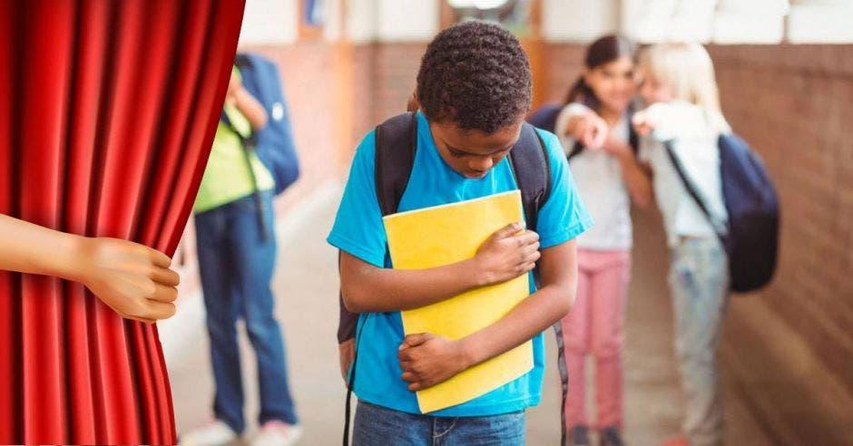 Una cortina muestra a un niño víctima del bullying