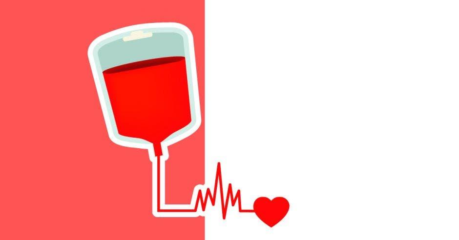 Bolsa de sangre y un corazón
