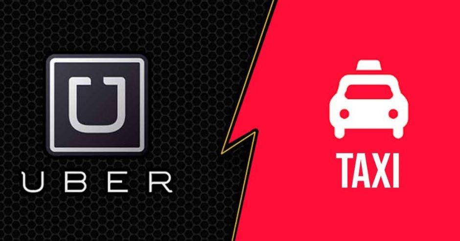 Una imagen que muestra un símbolo de Uber y otro de Taxis
