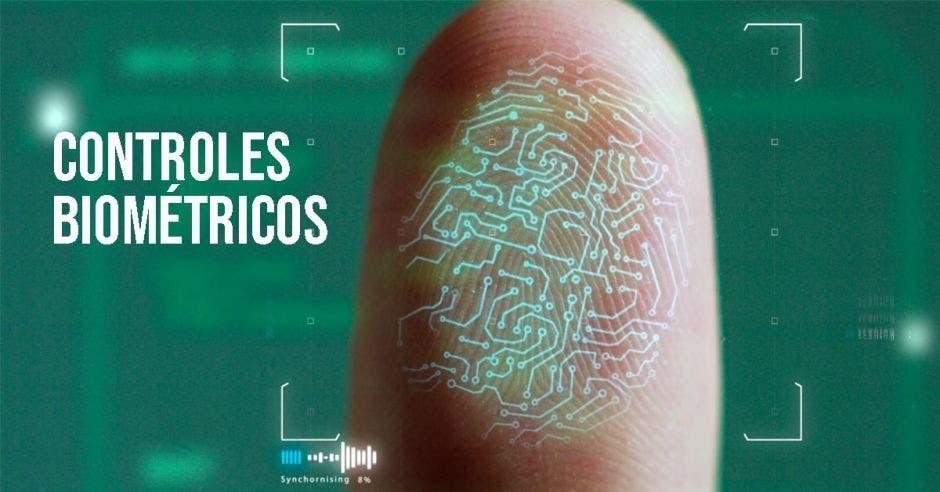 un dedo y control biométrico