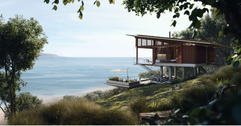 render de una villa con vista al mar