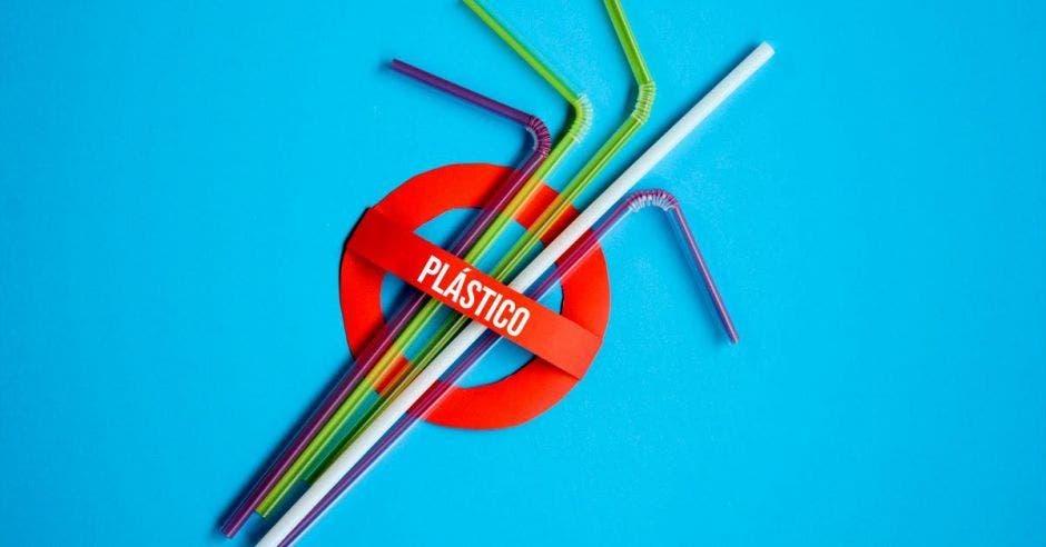 rótulo de no pajillas plásticas