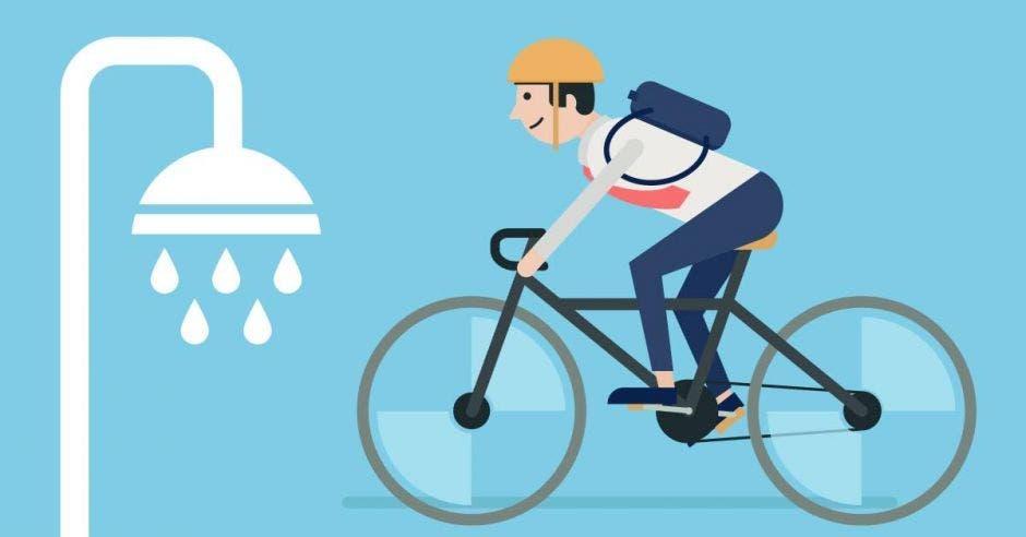 Ducha y bici