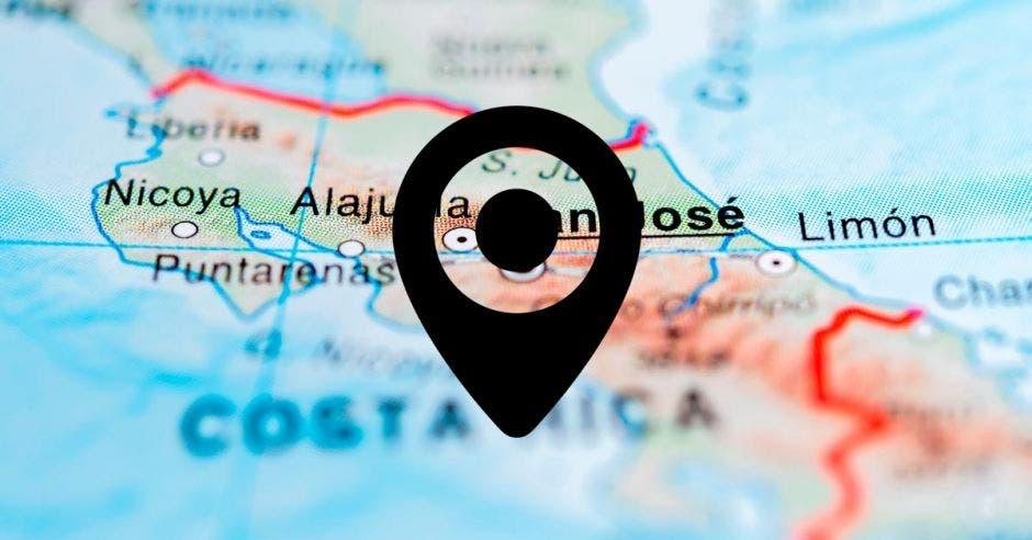 Mapa con un puntero de localización que señala a Costa Rica