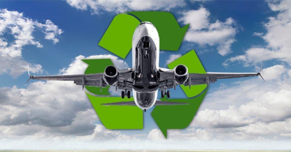 avión y signo de reciclaje
