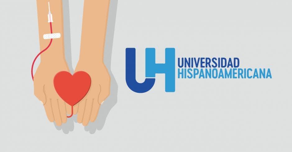 Imagen de dos manos donando sangre con el logo de la Universidad Hispanoamericana