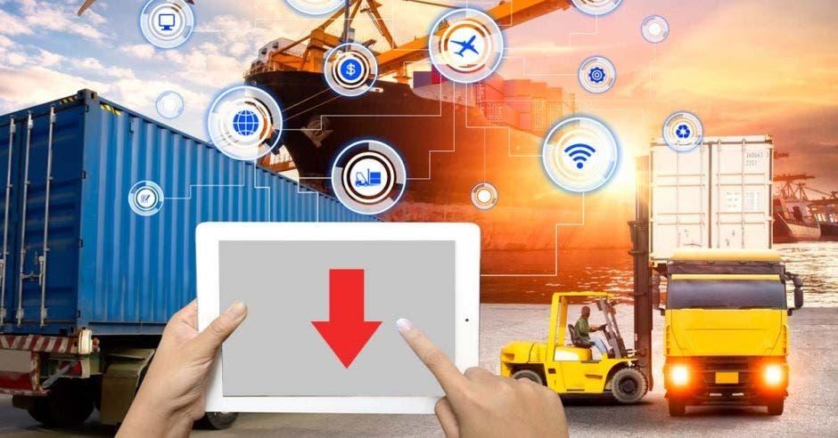 Flecha hacia abajo, pantalla, manos, camiones, contenedores, buques