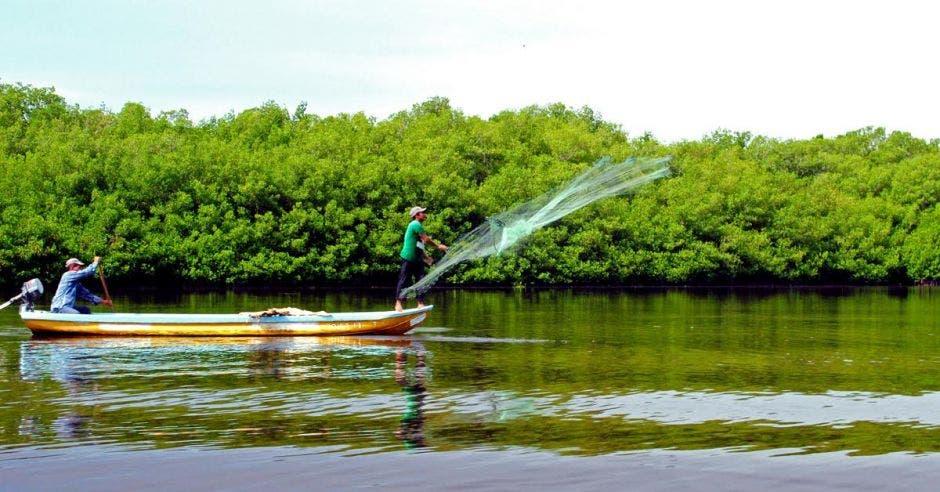 un pescador tirando su red