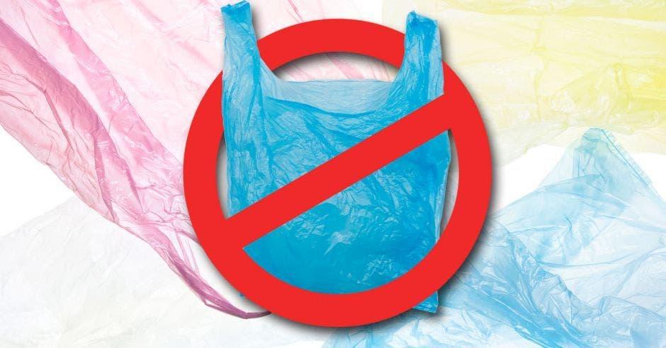 rótulo de prohibido bolsas plásticasa