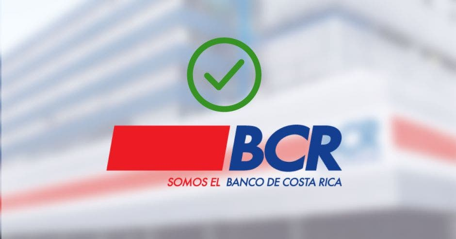 Signo de aprobación arriba del logo del Banco de Costa Rica.