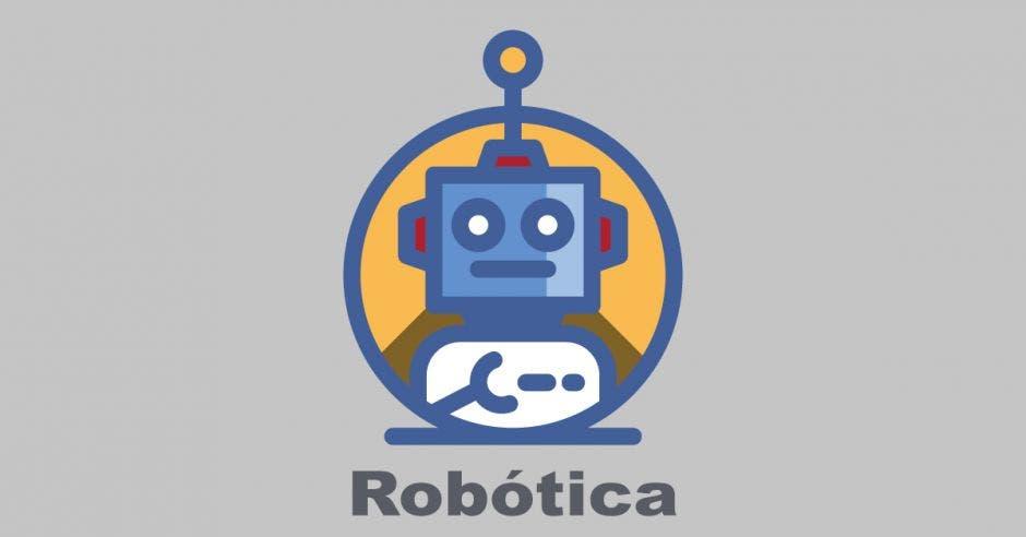 Un robot dibujado con la palabra robótica