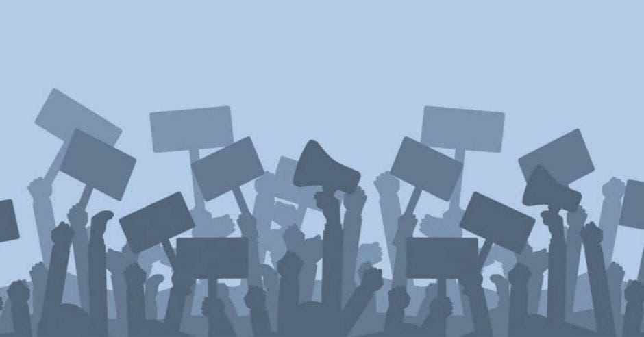 Un dibujo de siluetas de personas manifestándose