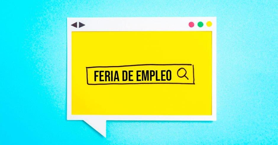 Una ilustración de una feria de empleo web en internet