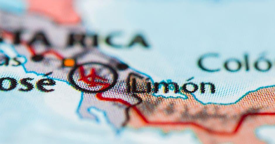 mapa de Costa Rica, señado la palabra Limón