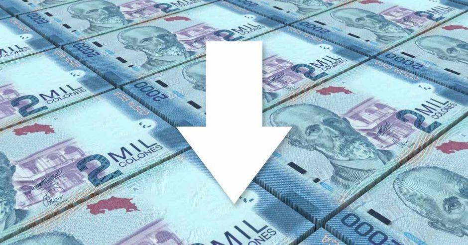billetes y una fecha que indica hacia abajo