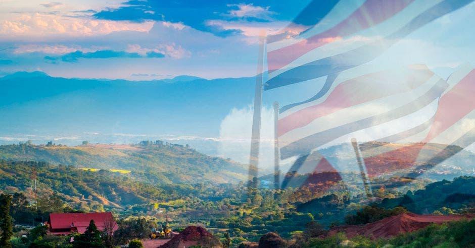 Bandera Costa Rica, montañas