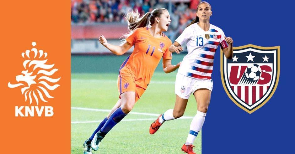 Jugadora holandesa Lieke Marter a la par de la jugadora estadounidense Alex Morgan.
