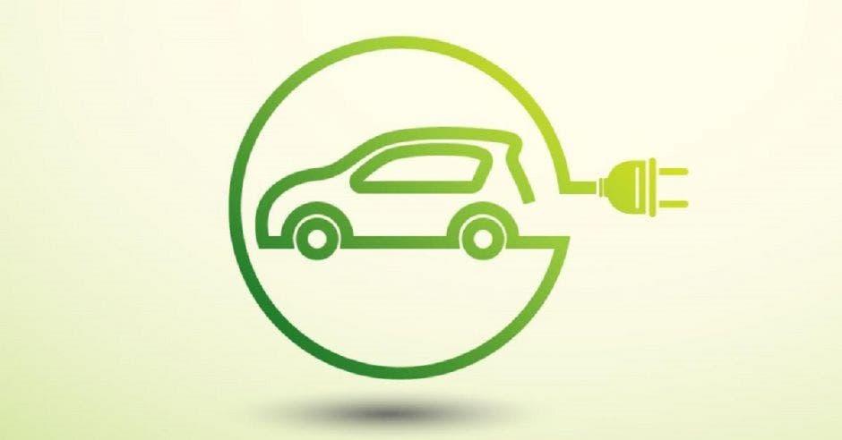 Un símbolo de un vehículo eléctrico