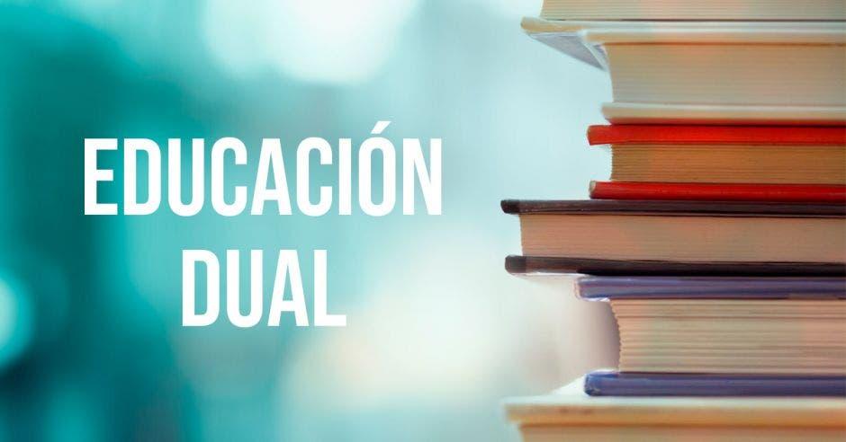 Educación dual  y una pila de libros