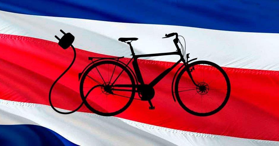 bici eléctrica y bandera de costa rica